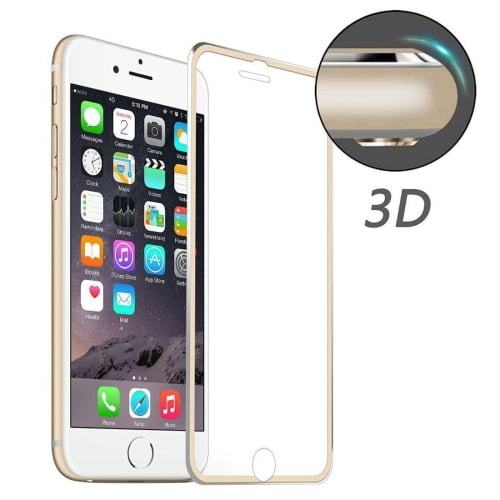 iPhone 7 Tempered Glass Curved Gold Border